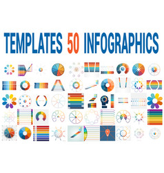 50 templates for infographics for eight positions vector image vector image