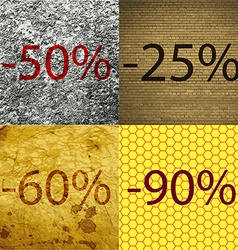 25 60 90 icon set of percent discount on abstract vector