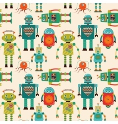 Seamless Pattern Background with Cute Retro Robots vector image