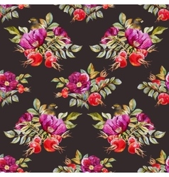 Watercolor dogrose pattern vector