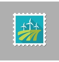 Windmill on the field flat stamp vector