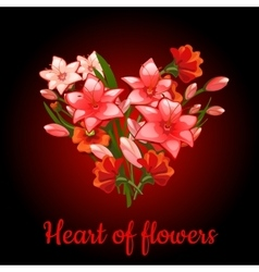Heart of flowers lilies vector