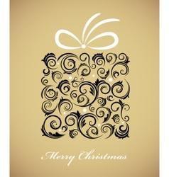 vintage christmas gift box with retro ornaments vector image