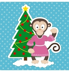 Monkey and christmas tree vector