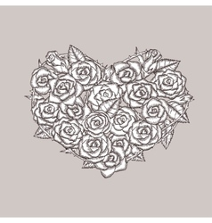 Valentine day heart made of roses ink drawing vector