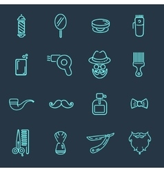 Set of barber shop elements vector