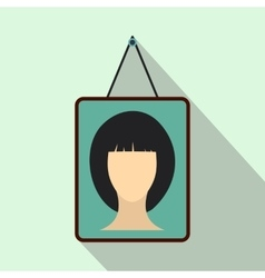 Portrait of a woman in a frame icon flat style vector
