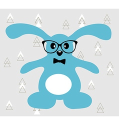Little blue hare with glasses and bowtie vector