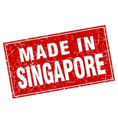 Singapore red square grunge made in stamp vector