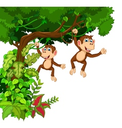 Happy monkey cartoon hinging vector