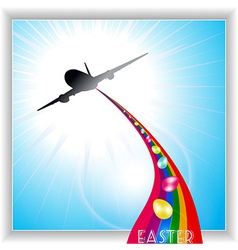 Aircraft release Easter eggs on rainbow vector image