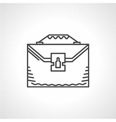 Black line icon for briefcase vector image vector image