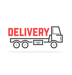 Black thin line delivery truck vector