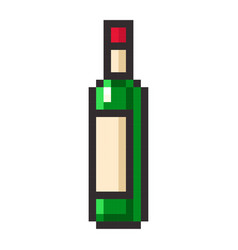 bottle of wine pixel art cartoon retro game style vector image vector image