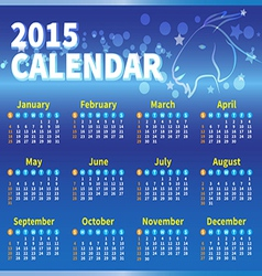 calendar 2015 blue colour vector image