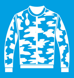 Camouflage jacket icon white vector
