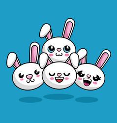 Cute rabbits characters kawaii style vector