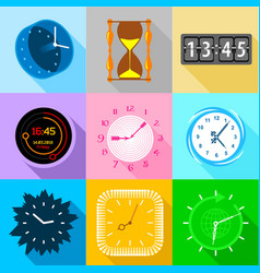 Different clock icons set flat style vector