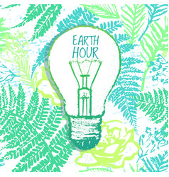 earth hour hand drawn with light bulb vector image