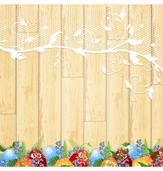 easter wooden background vector image vector image