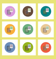 Flat icons set of abacus and blank concept on vector