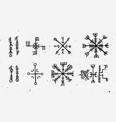 Futhark norse islandic and viking runes set magic vector