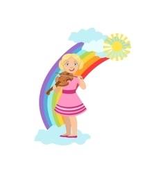 Girl playing violin with rainbow and clouds vector