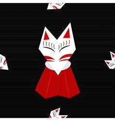 Inari fox black background vector