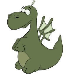 Little green dragon cartoon vector image