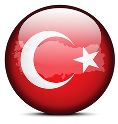 Map on flag button of republic of turkey vector