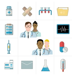 Medical and pharmaceutical or pharma icons vector image