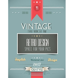 Old Style Vintage Menu of the Day background vector image vector image