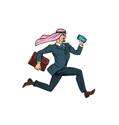 running arab businessman isolated on white vector image vector image