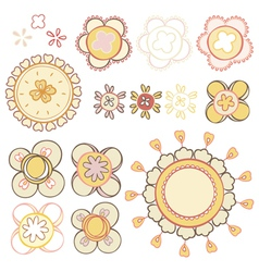Set elements of abstract flowers vector