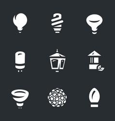 set of bulbs icons vector image