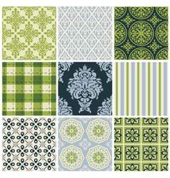 Set of nine colorful seamless patterns vector image vector image