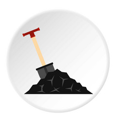 Shovel in coal icon circle vector