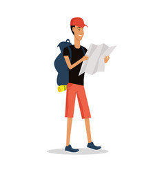 Smiling young man in shorts with backpack and map vector