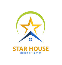 star house realty logo vector image