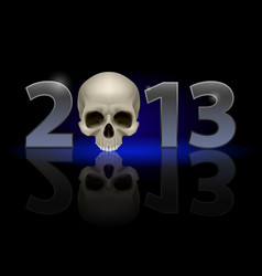 Twenty thirteen year skull on black background vector