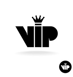 Vip letters abbreviation simple black silhouette vector