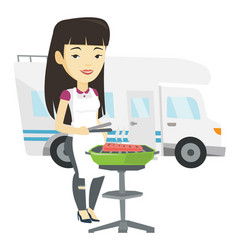 Woman having barbecue in front of camper van vector