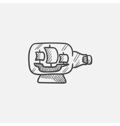 Ship inside bottle sketch icon vector
