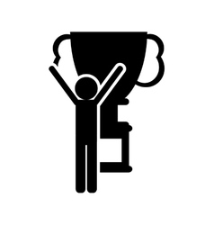 Trophy cup and person pictogram icon vector