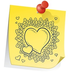 Doodle sticky note heart vector