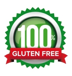 Gluten free badge with red ribbon vector