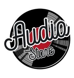 Color vintage audio store emblem vector image
