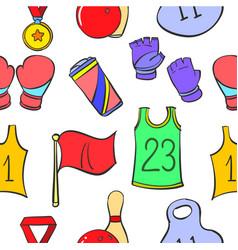 Doodle sport equipment object various vector