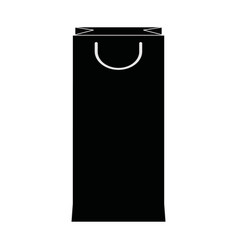 paper shopping bag handle package silhouette vector image