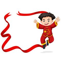 Frame design with chinese boy jumping vector